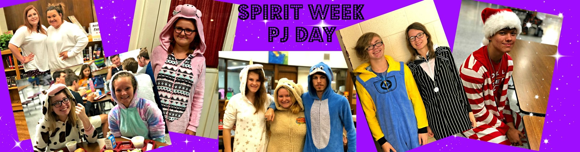 A collage of students dressed up for PJ Day